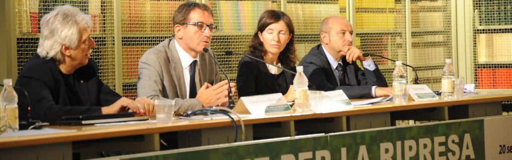 Edizione 2012: Tavola rotonda sullo stato dell'economia regionale con l'assessore Gian Carlo Muzzarelli e il direttore generale di Unindustria Bologna Tiziana Ferrari. Moderazione del direttore di Rai3 E-R Fabrizio Binacchi
